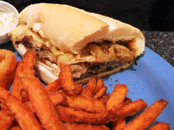 Philly cheesesteak sandwich at Long Island Cheeseburger in