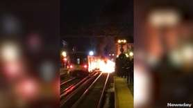 A Long Island Rail Road train hit a
