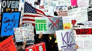 Crowds gather on Pennsylvania Avenue in Washington at