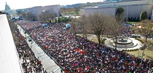 Protesters fill Pennsylvania Avenue, as seen from the