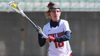 Stony Brook attacker Courtney Murphy controls the ball