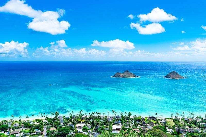 Lanikai Beach, located on the Windward Coast of