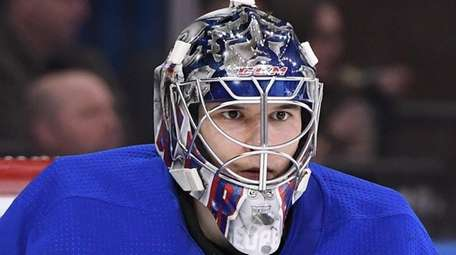 Rangers goaltender Alexandar Georgiev keeps his eye on