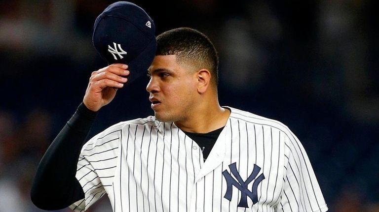 Dellin Betances at Yankee Stadium on Aug. 31,