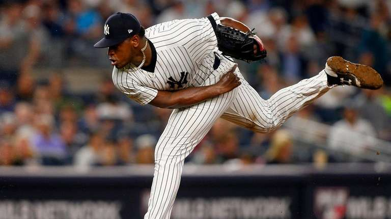 Luis Severino pitches against Cleveland in ALDS Game