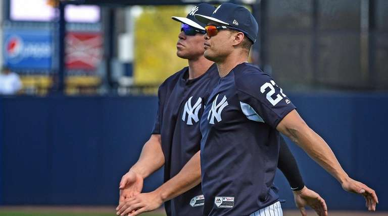 Aaron Judge, left, and Giancarlo Stanton at Yankees