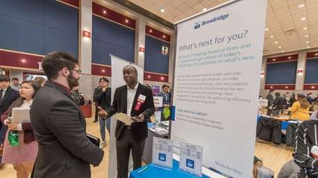 Participants at a Stony Brook University job fair