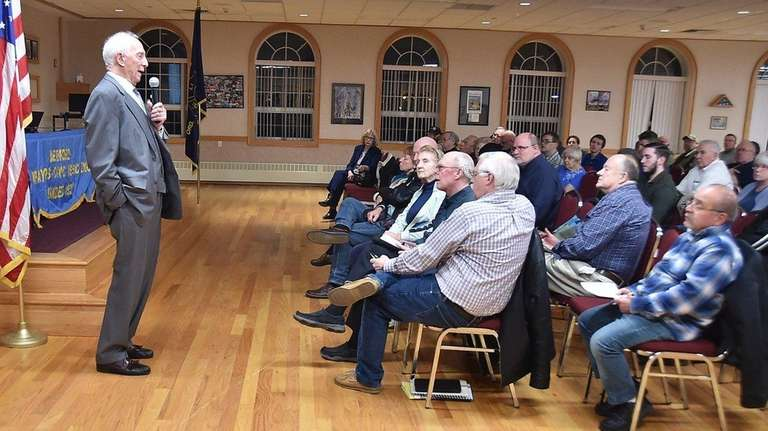 Bernard Shereck speaks to the Medford Taxpayers and