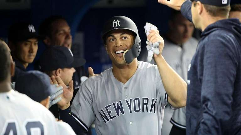 Giancarlo Stanton #27 of the New York Yankees
