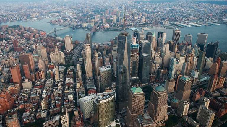 An aerial view of Lower Manhattan on Sep.