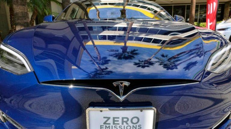 A Tesla Model S on display in Los