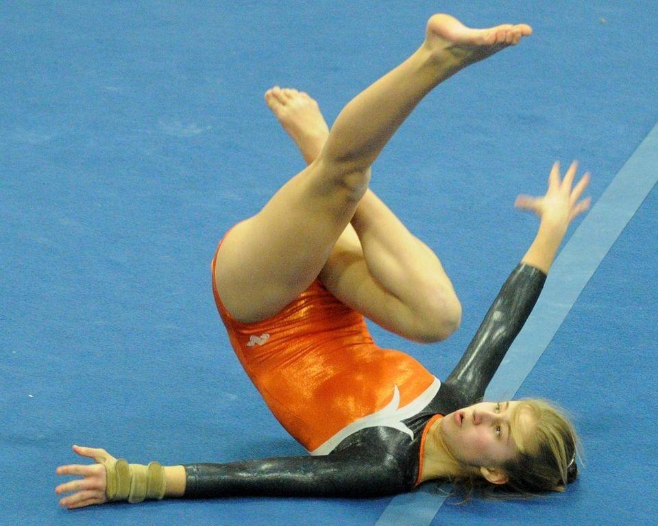 Hicksville junior Allison Osmundsen performs her floor routine