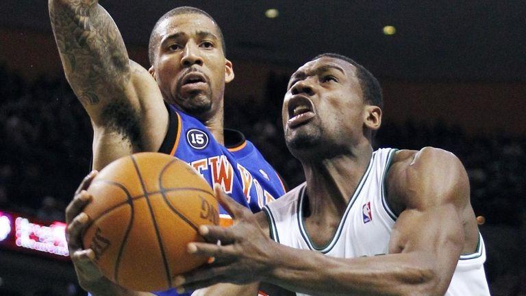 Boston Celtics' Tony Allen (42) drives in to