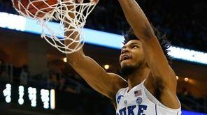 Marvin Bagley III of Duke dunks against Rhode
