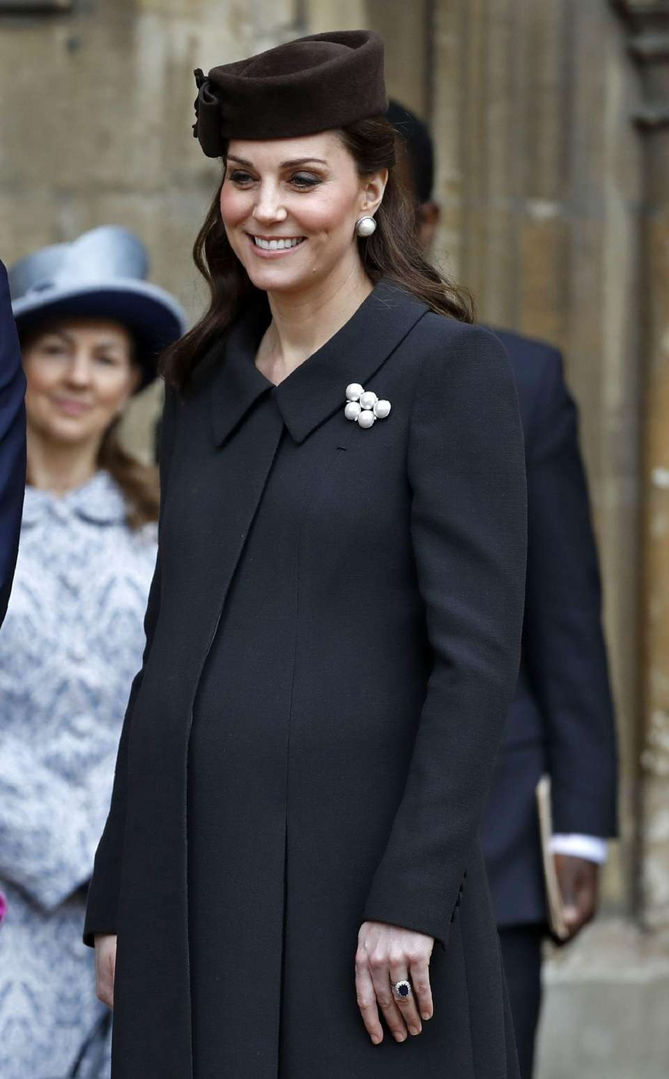 Britain's Catherine, Duchess of Cambridge, leaves after attending
