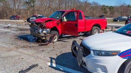 The multivehicle crash on Saturday near Exit 68