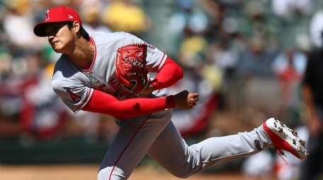 Los Angeles Angels' Shohei Ohtani works against the