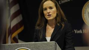 Nassau County District Attorney Kathleen Rice speaks at