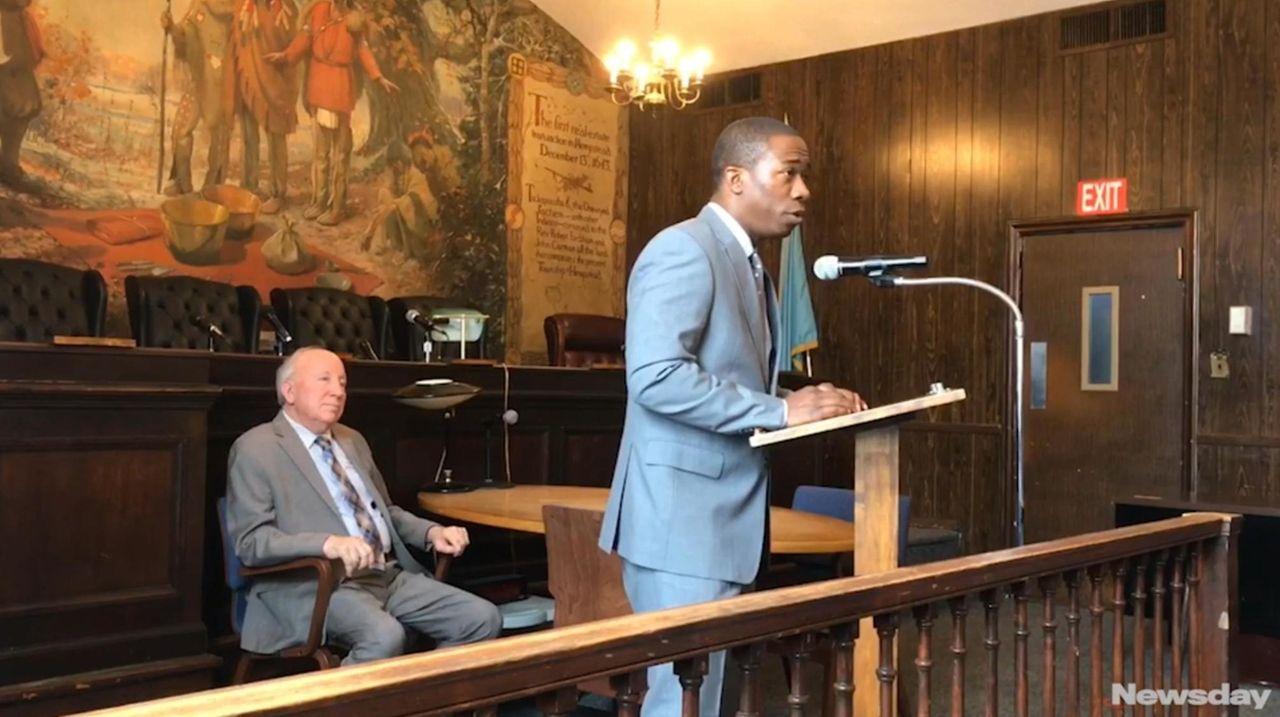 New Hempstead Village Trustee Jeffery Daniels addressed the
