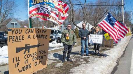 Supporters of gun rights stage a counterprotest to