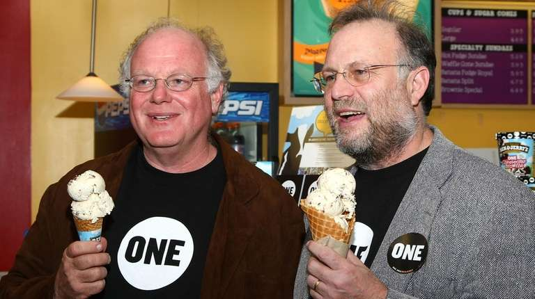 Ben Cohen, left, and Jerry Greenfield, seen here