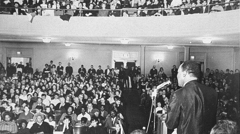 The Rev. Martin Luther King Jr. speaks at