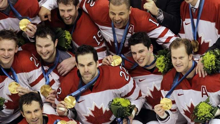 Canada's men's ice hockey team shows off their