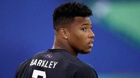 Penn State running back Saquon Barkley looks on