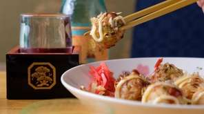 Takoyaki is made with octopus topped with panko
