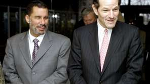 Then-Gov. Eliot Spitzer, right, and then-Lt. Gov. David