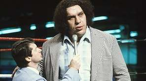 Andre The Giant, right, is interviewed by Vince