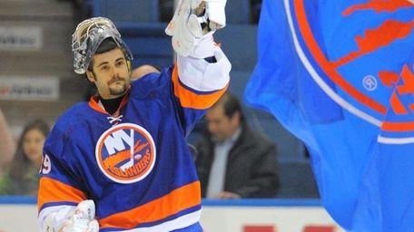 FILE - Islanders goalie Rick DiPietro.