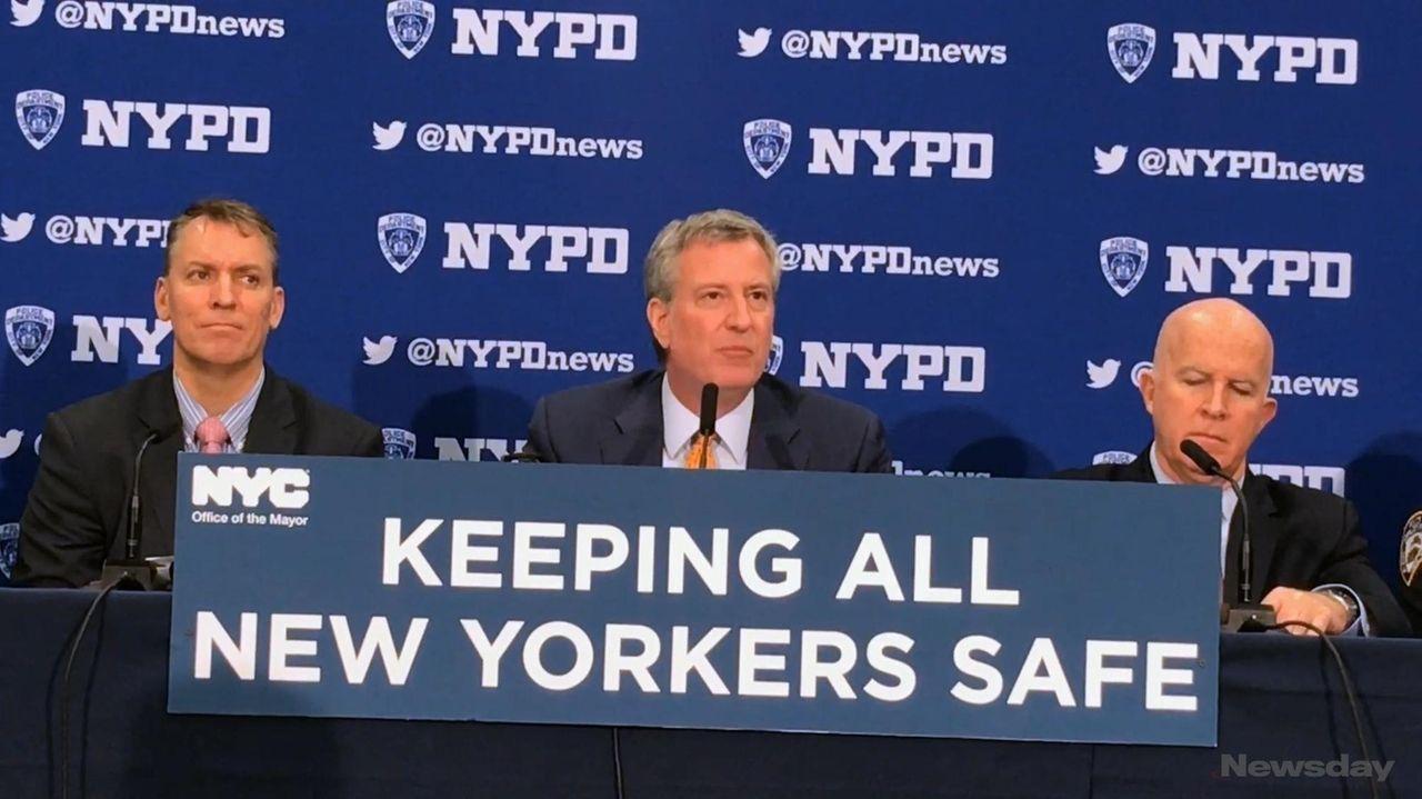 Mayor Bill de Blasio discussed year-to-date crime figures