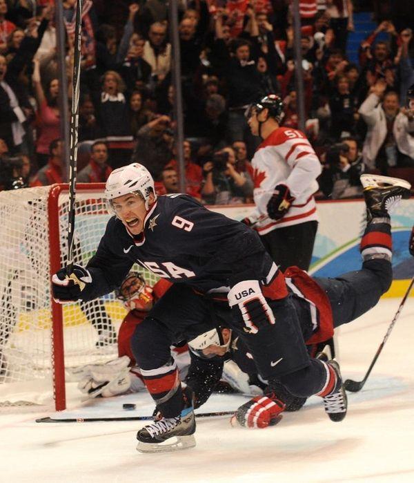 Team USA's Zach Parise celebrates after scoring the