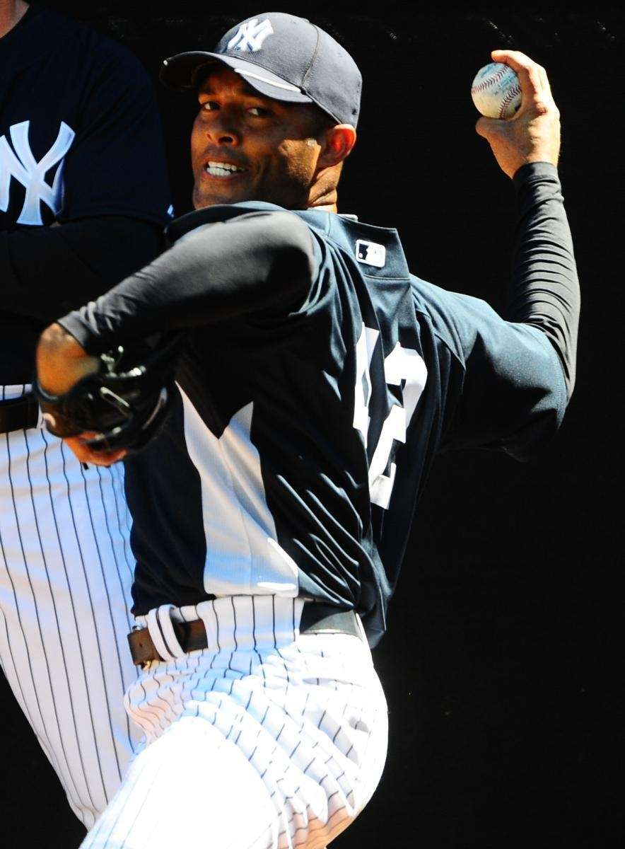 Yankees closer Mariano Rivera during a bullpen session