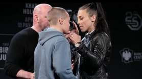 UFC 223 headliners featherweight champion Max Holloway,Khabib Nurmagomedov,