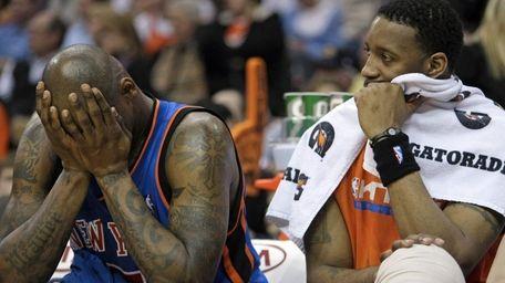 Knicks forward Al Harrington, left, and Tracy McGrady