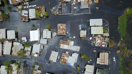 A flooded neighborhood in Puerto Rico in the
