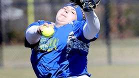 East Meadow's starting pitcher Christina Loeffler (45) against