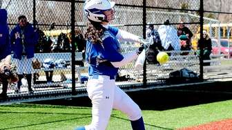 East Meadow's Julia Cuttone (14) with the RBI