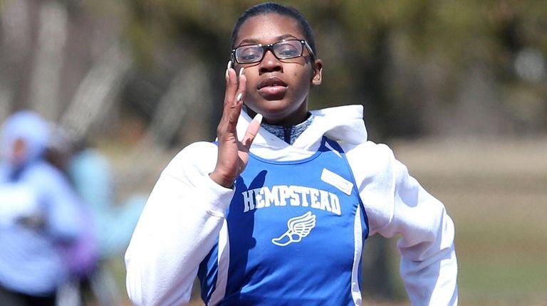 Hempstead's Courtashia Felton wins the girls 400-meter dash