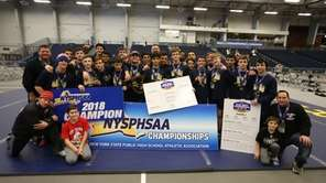 Mount Sinai's wrestling team after winning state Division