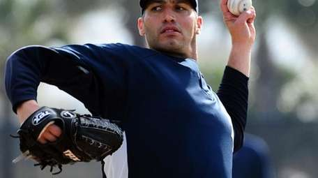 Andy Pettitte during a throwing session at spring