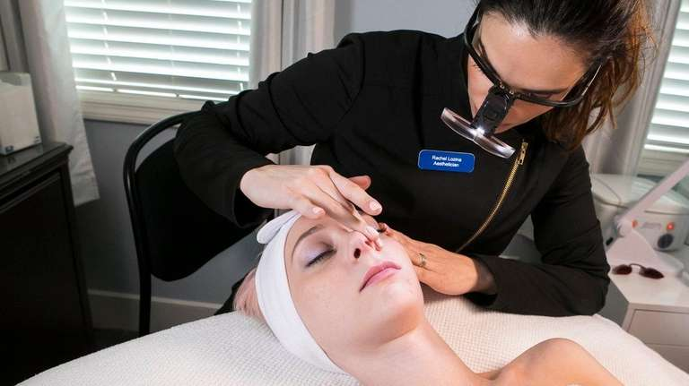 Breana Hume gets a facial at Blue Water