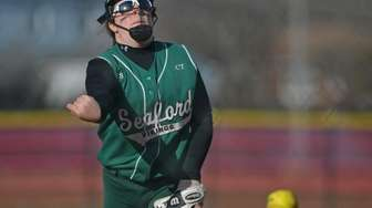 Anna Butler, Seaford pitcher, delivers to the plate