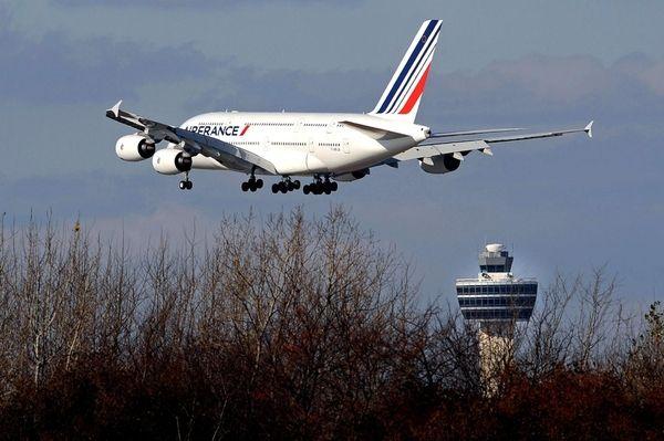 An Air France Airbus A380 plane lands at