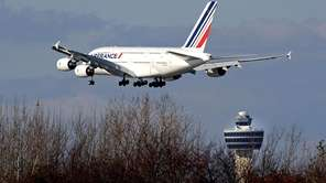 An Air France Airbus A380 plane lands at