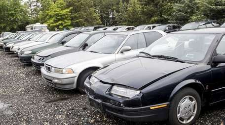 Cars are seen at the Suffolk County Police