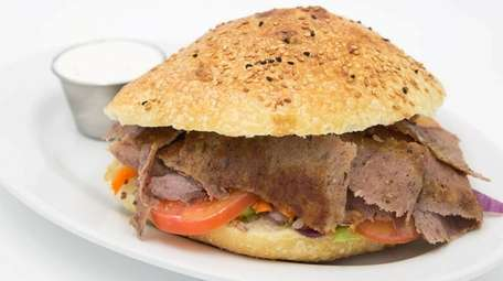 The lamb and beef doner kebab sandwich at