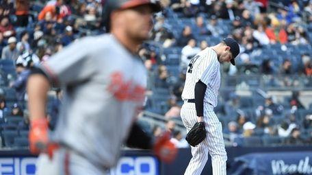 New York Yankees starting pitcher Jordan Montgomery reacts